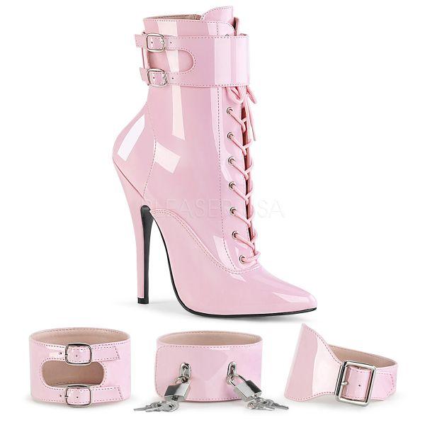 High Heels Stiefelette in pink Lack mit Schnürung und austauschbaren Fesselriemchen DOMINA-1023